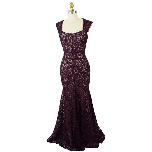 Deep Purple Sequined Lace Cap Sleeve Gown ($110) ❤ liked on ...