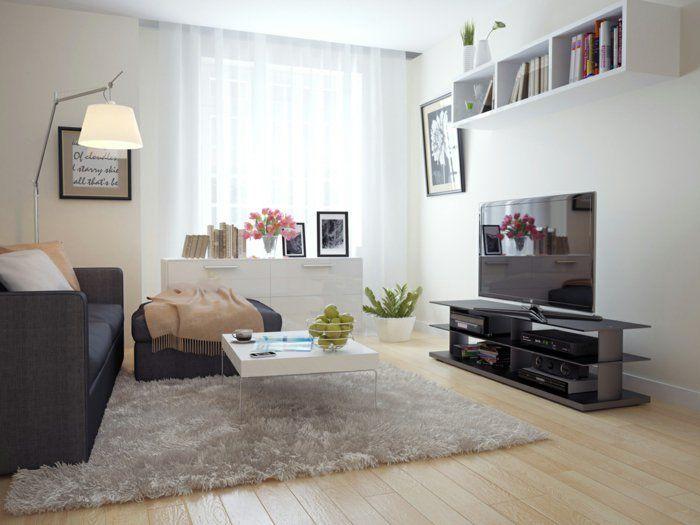 Wohnzimmer Einrichten Beispiele Kleiner Raum Wandregal Helle Wände Blumen