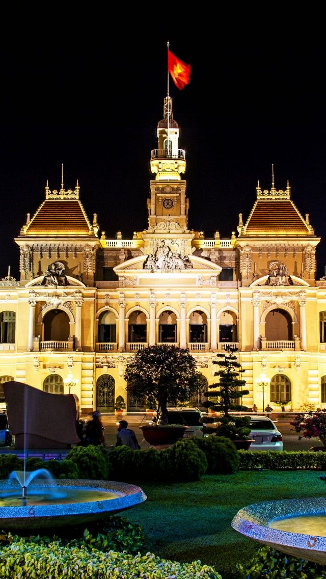 City Hall Of Ho Chi Minh City Vietnam iPhone 5 wallpapers, backgrounds, 640 x 1136