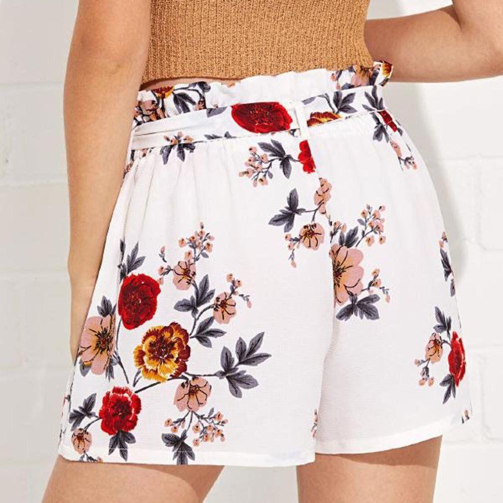 Pervobs Women Shorts Women Shorts Solid Loose Hot Pants Pockets Shorts