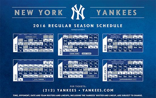 photo regarding Yankees Printable Schedule identify 2016 Routine Satisfaction of the Yankees! Contemporary york yankees