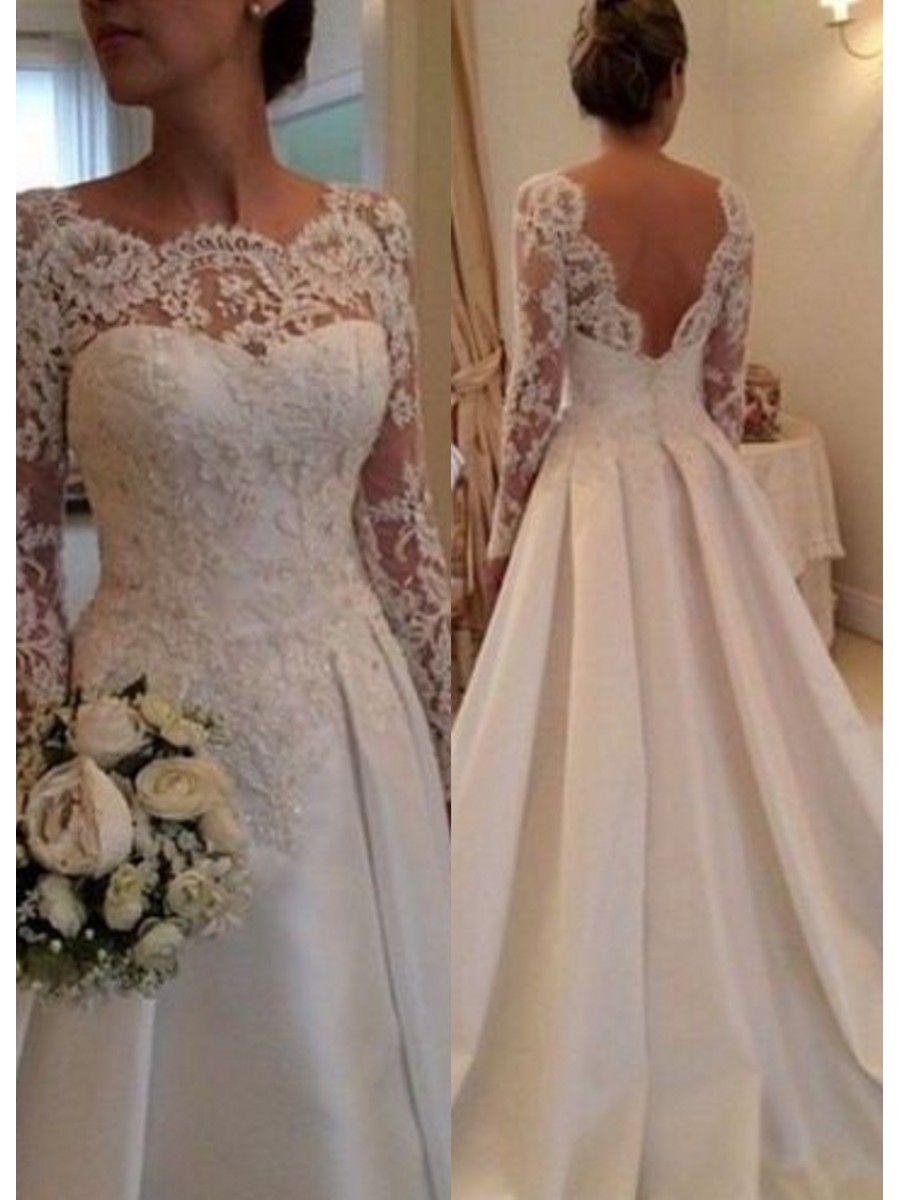 A-Line Long Sleeves Lace V-Back Wedding Dresses Bridal Gowns ...