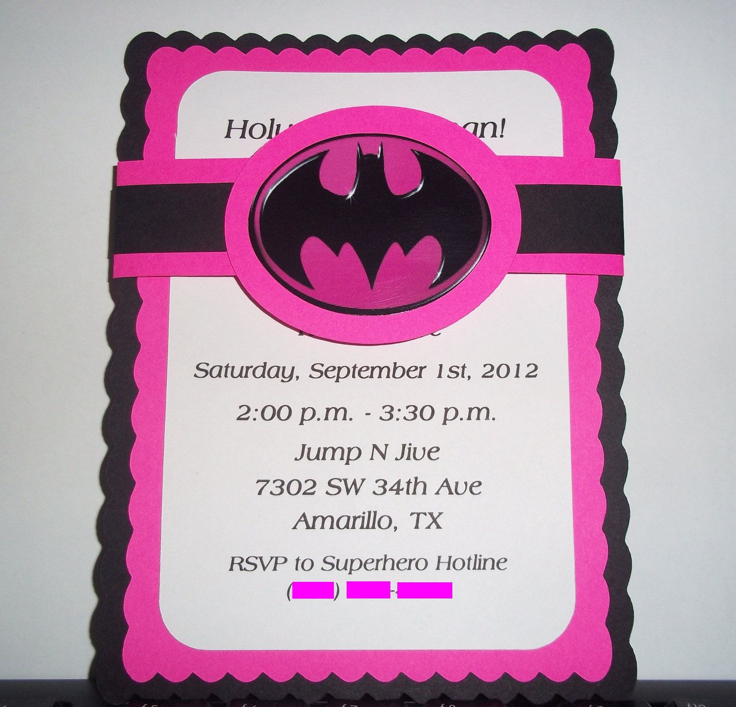Pink Batman Birthday invites, but as thank you for the girls that ...