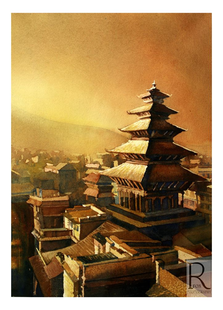 Hindu temple in the Kathmandu Valley- watercolor painting