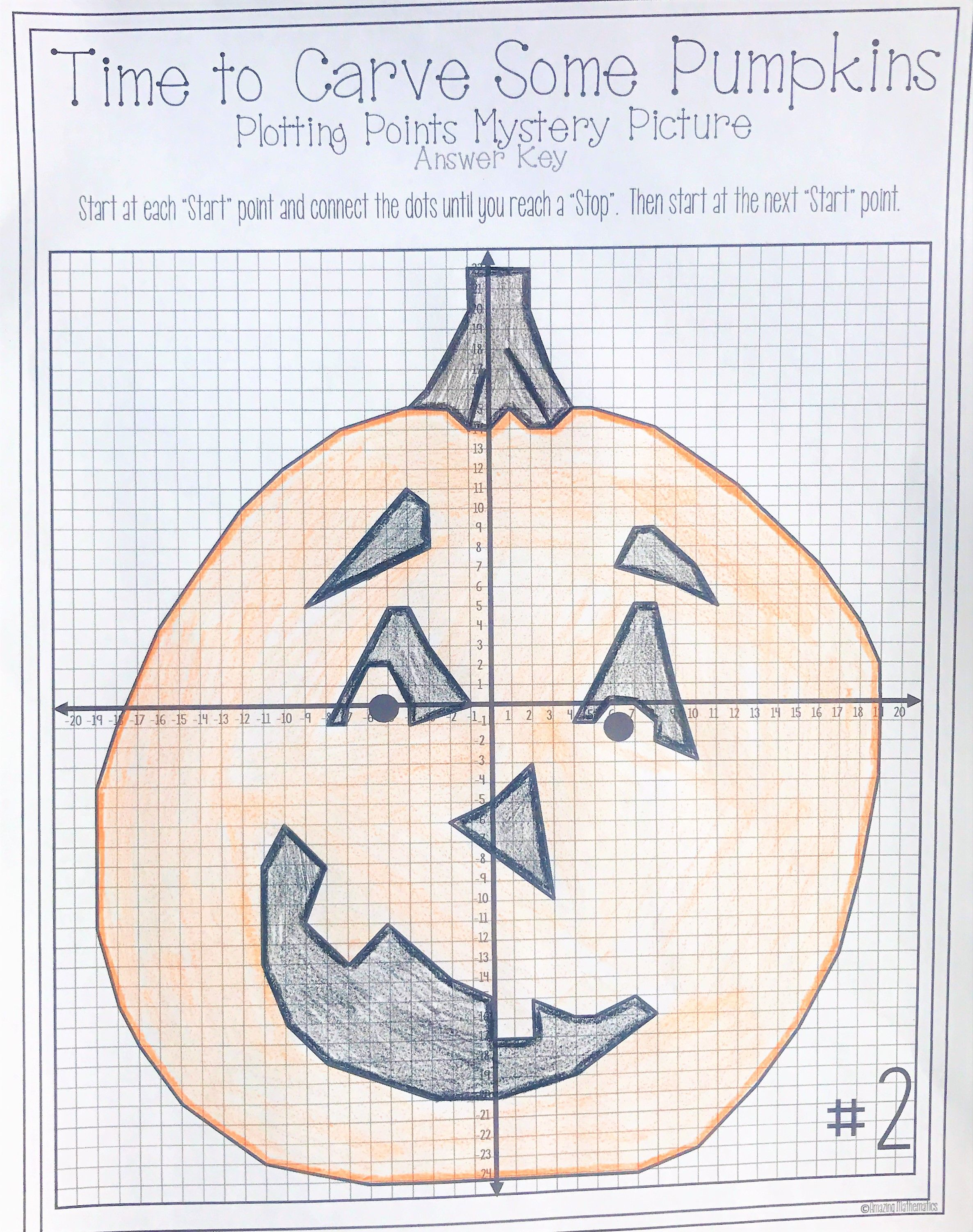 worksheet Pumpkin Coordinate Graph halloween pumpkin carving plotting points mystery picture picture