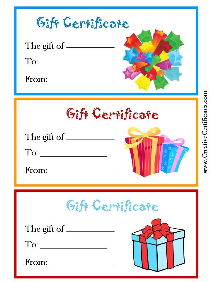 3 Generic Gift Certificates With Pictures Of Gifts With A Blue