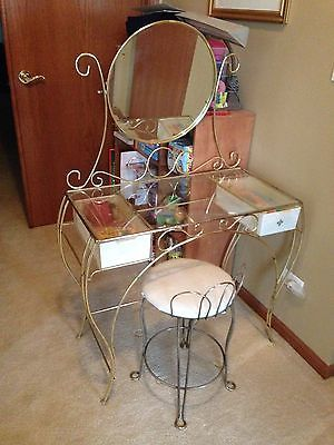Brilliant Vintage 1965 Metal And Glass Vanity And Chair Glass Vanity Theyellowbook Wood Chair Design Ideas Theyellowbookinfo
