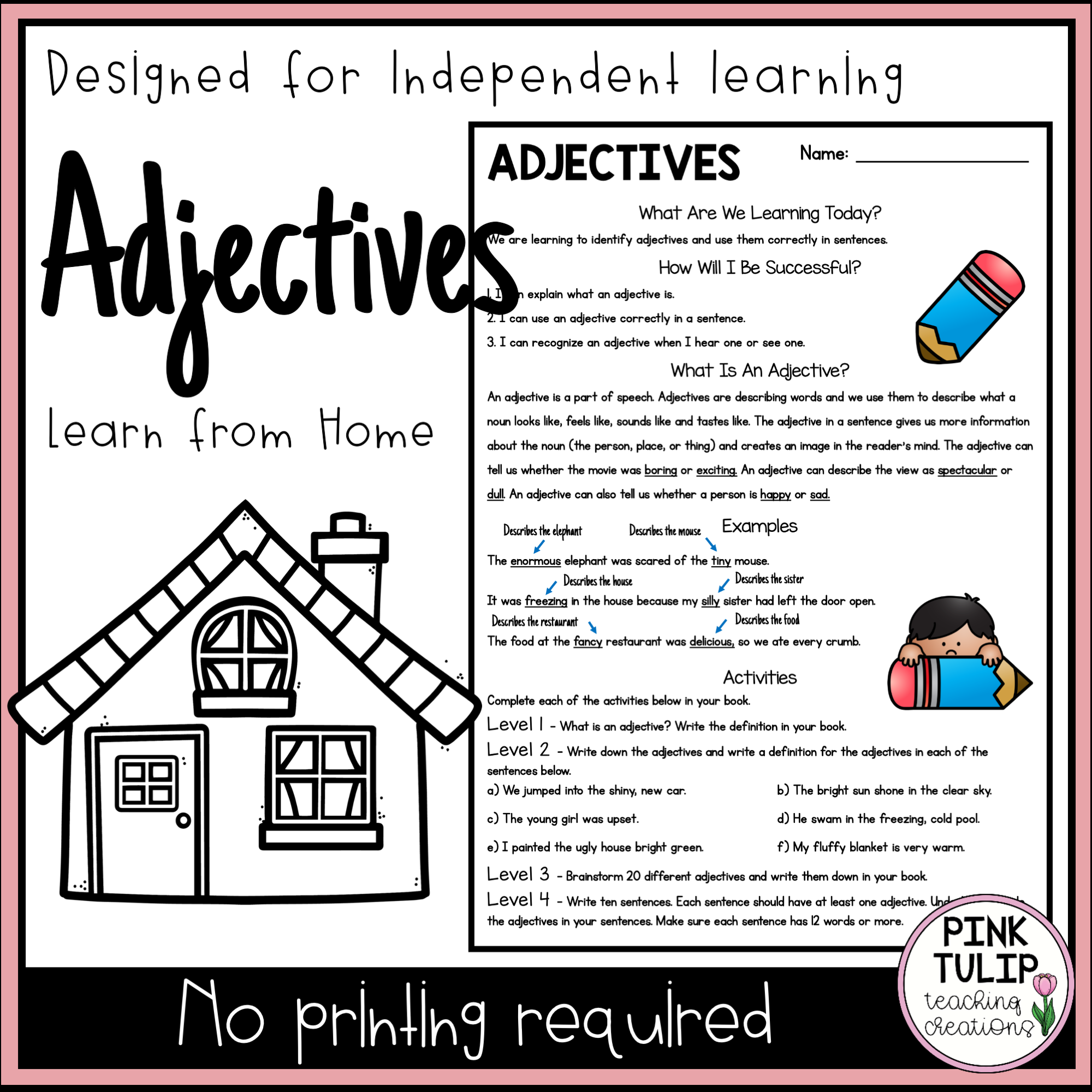 Adjectives Distance Learning Writing Rubric Persuasive Writing Adjectives [ 2000 x 2000 Pixel ]