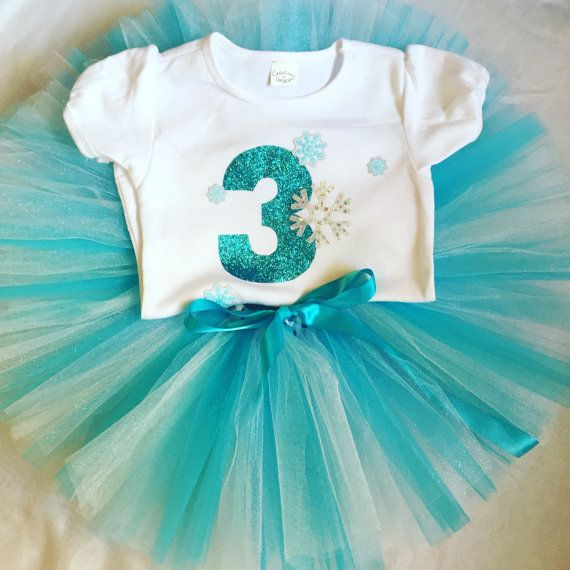 The Frostilen Third Birthday Outfit For Girls 3rd Tutu Number 3 Shirt Frozen Turning