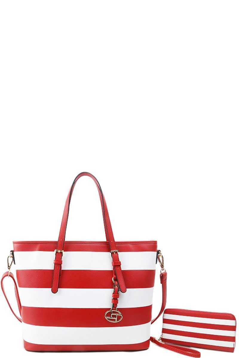 Photo of 2in1 Modern Striped Shopper Bag With Matching Wallet – White