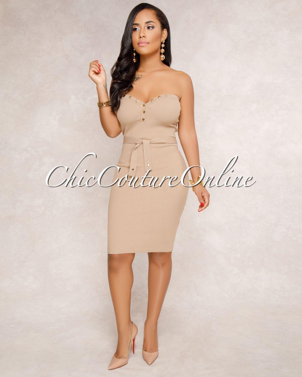 Sarra Nude Ribbed Strapless Dress