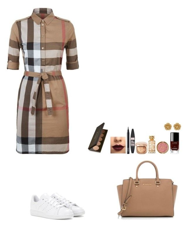 """Untitled #424"" by mariapangal on Polyvore featuring Burberry, adidas, MICHAEL Michael Kors, LASplash, NARS Cosmetics, Maybelline, Tory Burch, Milani, Chanel and Miriam Haskell"
