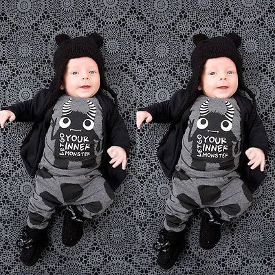 Toddler Baby Boy Halloween Outfit Short Long Sleeve T-Shirt Tops and Long Skull Pants Leggings Clothes Set