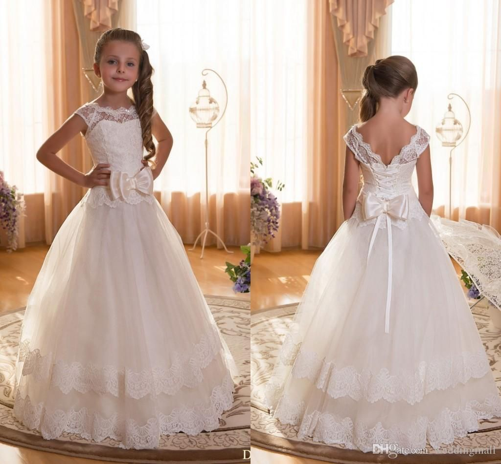 Baby dresses for wedding  I like this one but without the bow in front F Lace Ball Gown