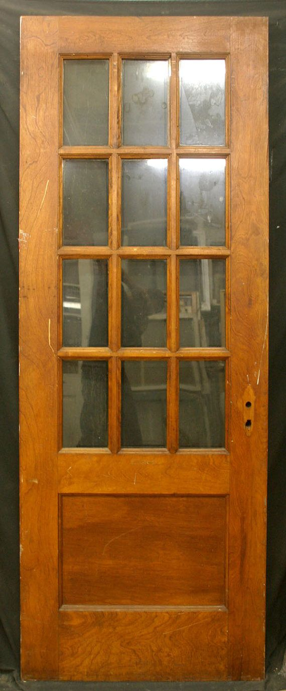 32 X84 Antique Exterior Entry Birch Wood Door 12 Wavy Glass Lites Window Pane Dorm Room Colors Doors Wood Doors