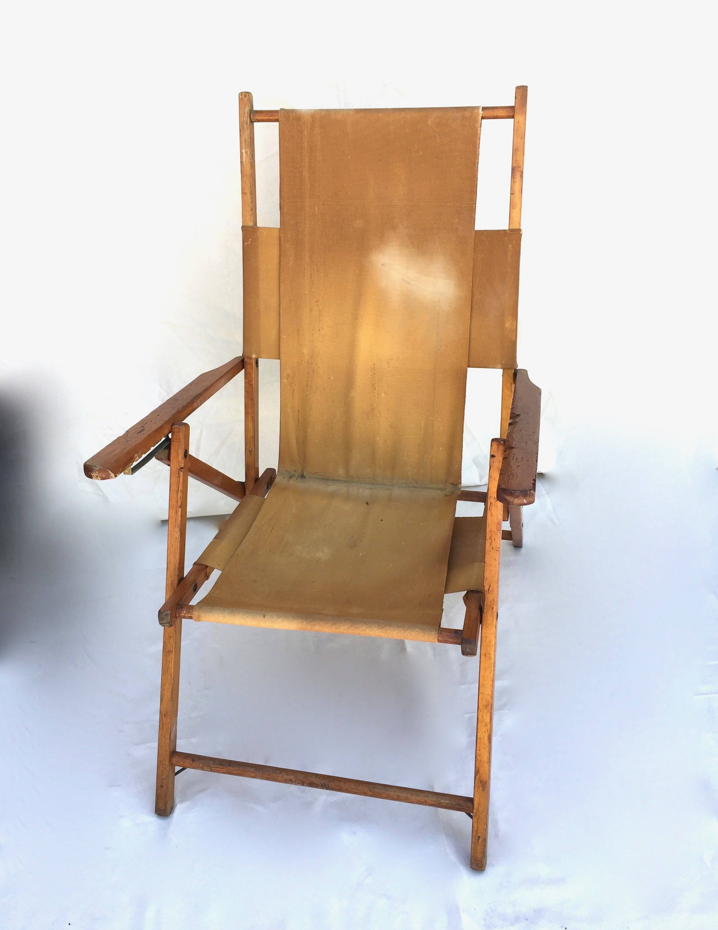 Vintage beach chair folding camp chair cus by gentryantiques on