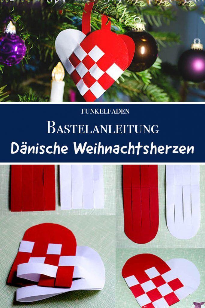Gratis Bastelanleitung - Dänische Weihnachtsherzen weben aus Papier
