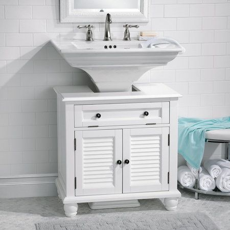Put That Empty Space Around Your Pedestal Sink To Use With This
