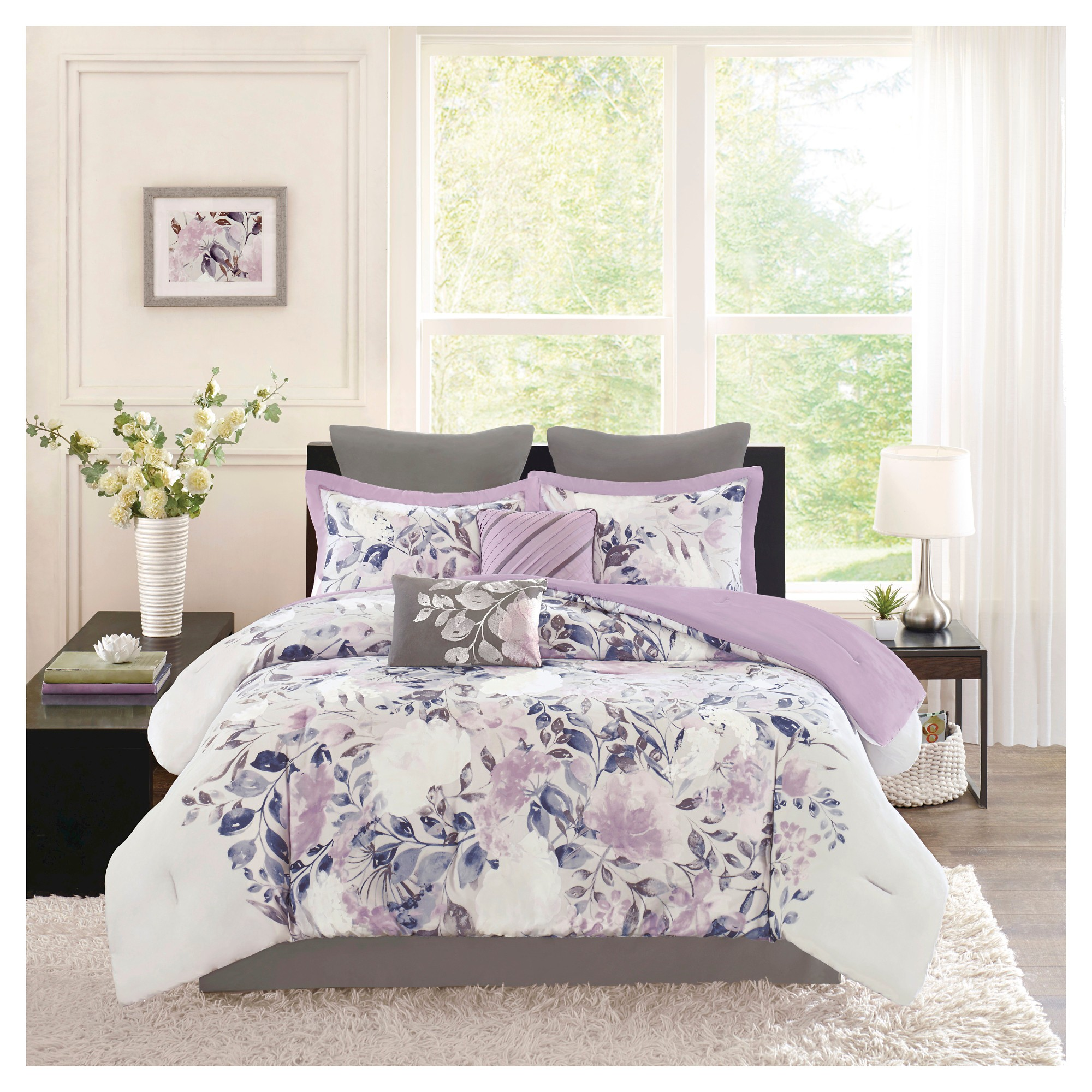 p queen the purple lavish bedding comforter home q piece aria sets set