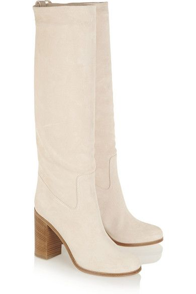 Stacked heel measures approximately 95mm/ 3.5 inches Ecru suede Pull on Designer color: Nude
