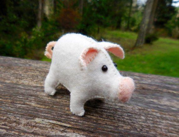 Stuffed Felt Pig Small Pig Felt Stuffed Animal Farm Animal