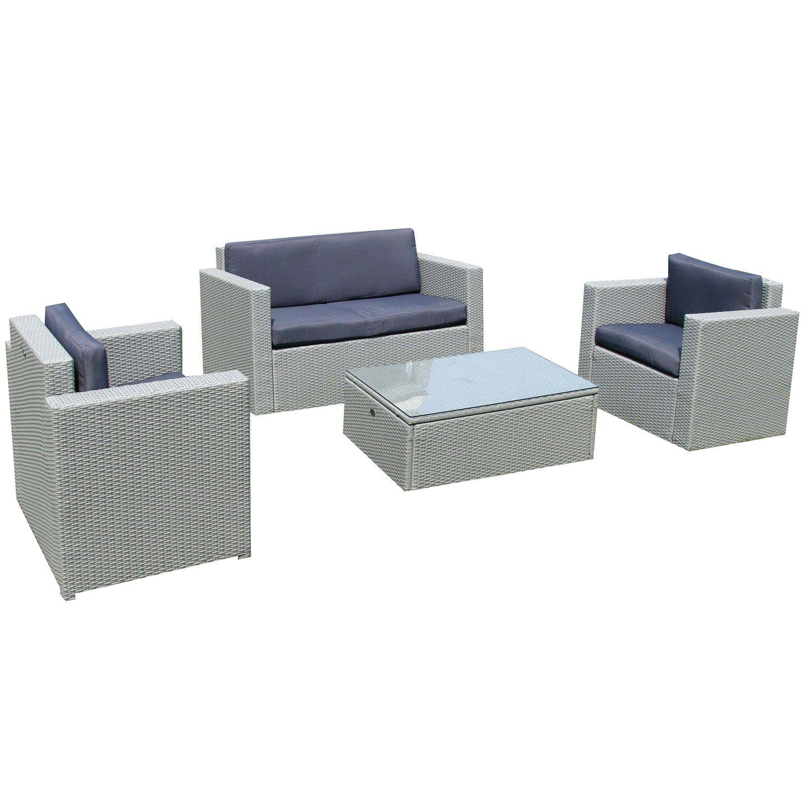 Jet-Line Cannes - Conjunto de muebles de jardín (mimbre sintético ...