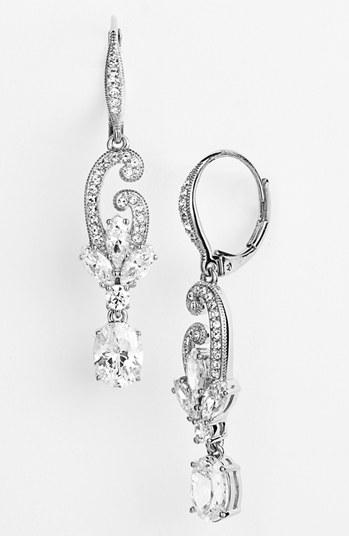 Nadri Jewelry Nadri Crystal Scroll Drop Earrings Nadri Crystal