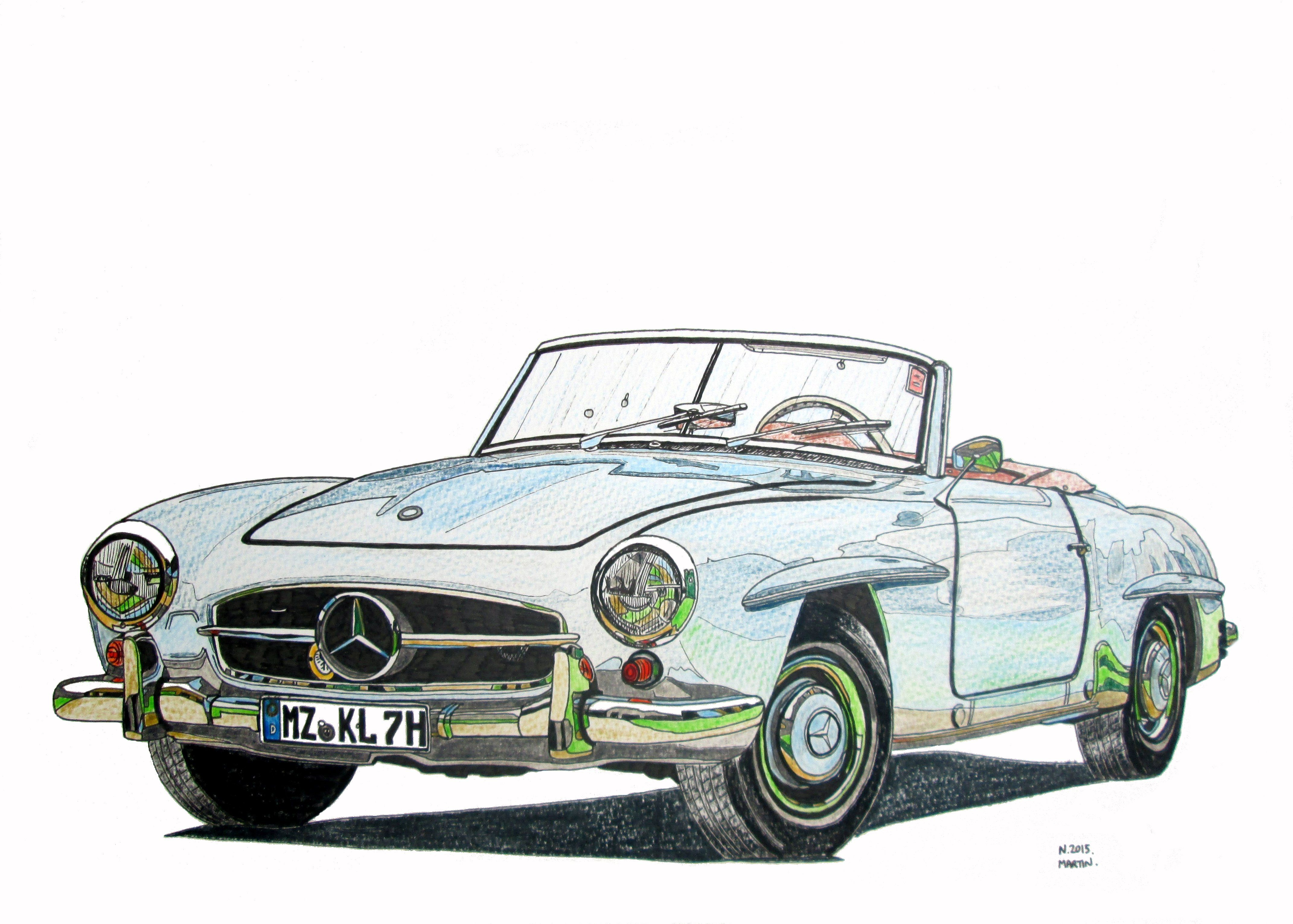 My Mercedes 190SL hand-drawn drawing. I can also draw your car or ...