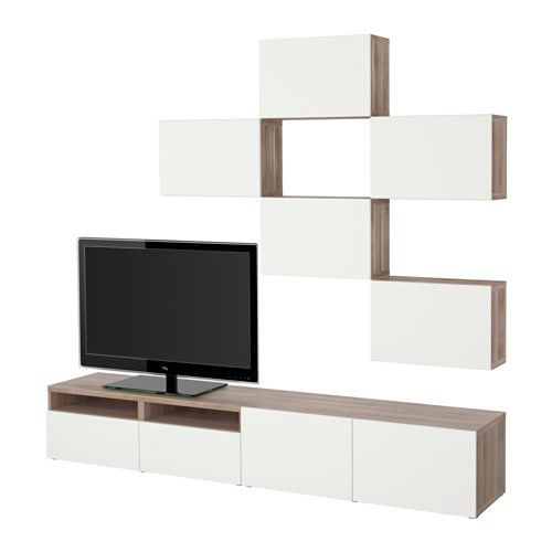 best combinaison meuble tv motif noyer teint gris lappviken blanc glissi re tiroir. Black Bedroom Furniture Sets. Home Design Ideas
