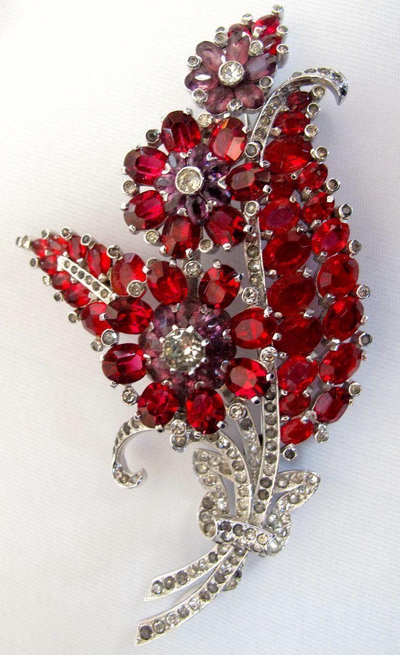 Red Purple Fl Rhinestone Pin Brooch