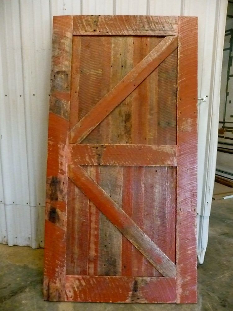 Sale Sliding Barn Door Reclaimed Wood Classic Rustic Red 36 X 80 Country Decor Rustic