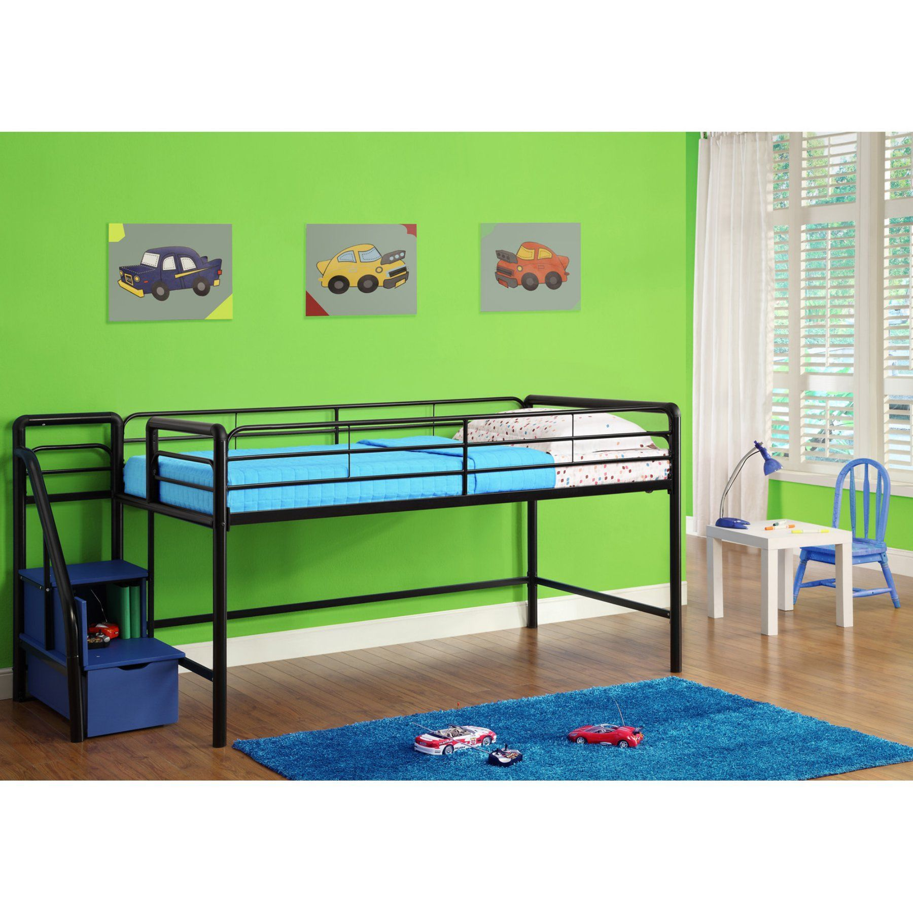 Junior loft bed ideas  DHP Junior Loft with Steps and Storage  Blue    Lofts and