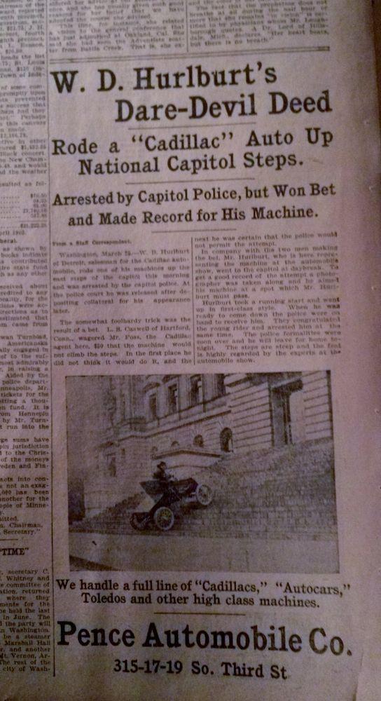 april 17 1903 newspaper page n4684 w d hulburt 39 s dare devil deed cadillac stuff to buy. Black Bedroom Furniture Sets. Home Design Ideas
