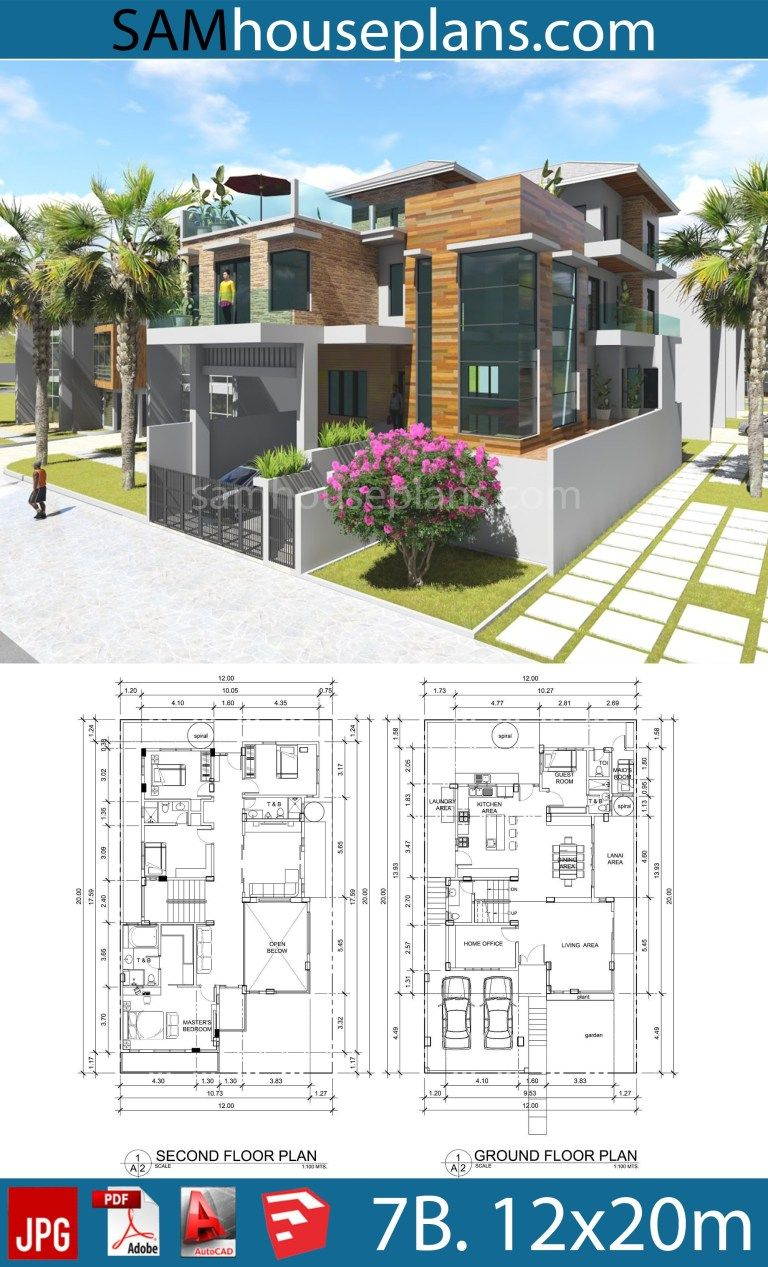 House Plans 12mx20m With 7 Bedrooms Sam House Plans Model House Plan Architectural Design House Plans My House Plans