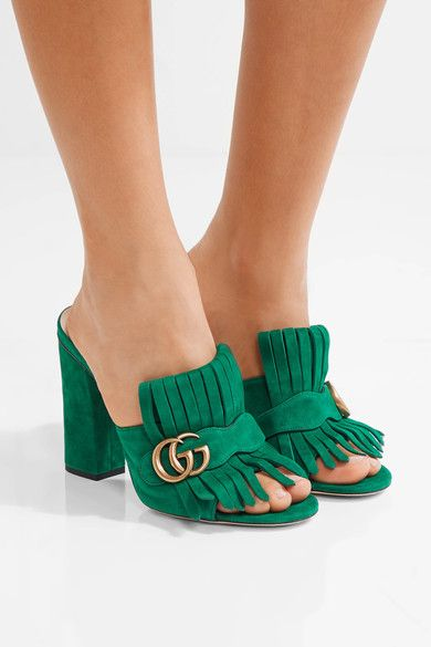 f06d445849c Heel measures approximately 105mm  4 inches Green suede Slip on Made in  Italy Gucci Marmont