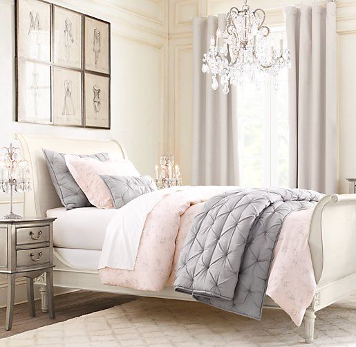 Blush And Grey Bedroom: Linen Cotton Drapery Panel