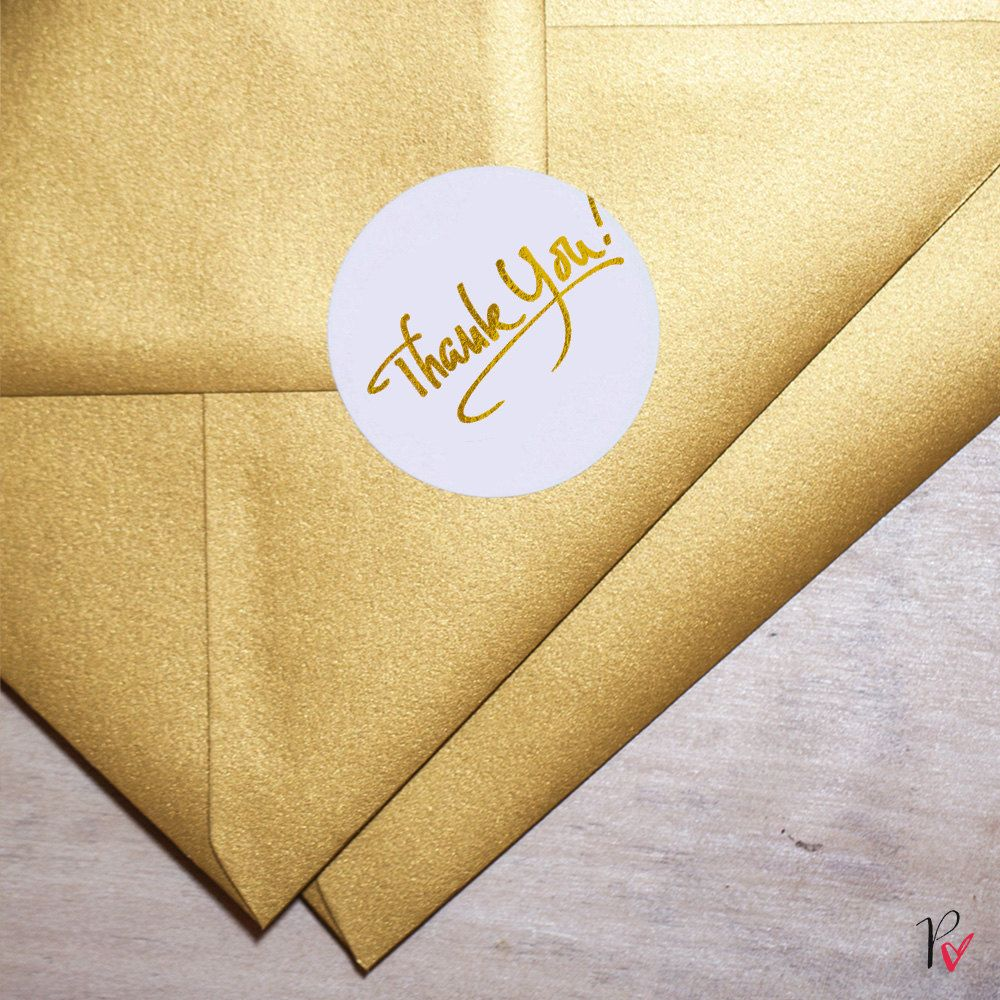 monogram wedding envelope seals sticker%0A Gold Foil Rounded Labels  Metallic Stickers  Thank You  Envelope Labels   Rounded Label Tags with Gold Foil by Paper Charms GT