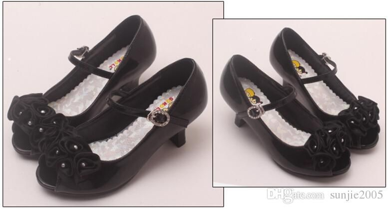 3 Colors Good Quality Children White Flower Pearls Shoes