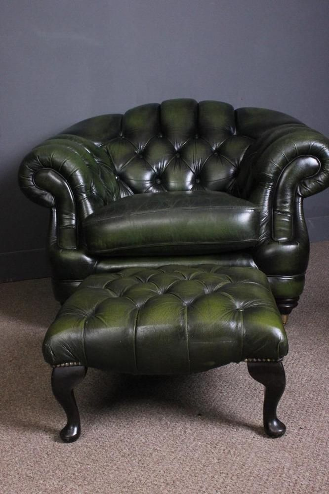 Beautiful Thomas Lloyd Green Leather Chesterfield Library Chair And Footstool Chesterfield Library Library Chair Leather Chesterfield
