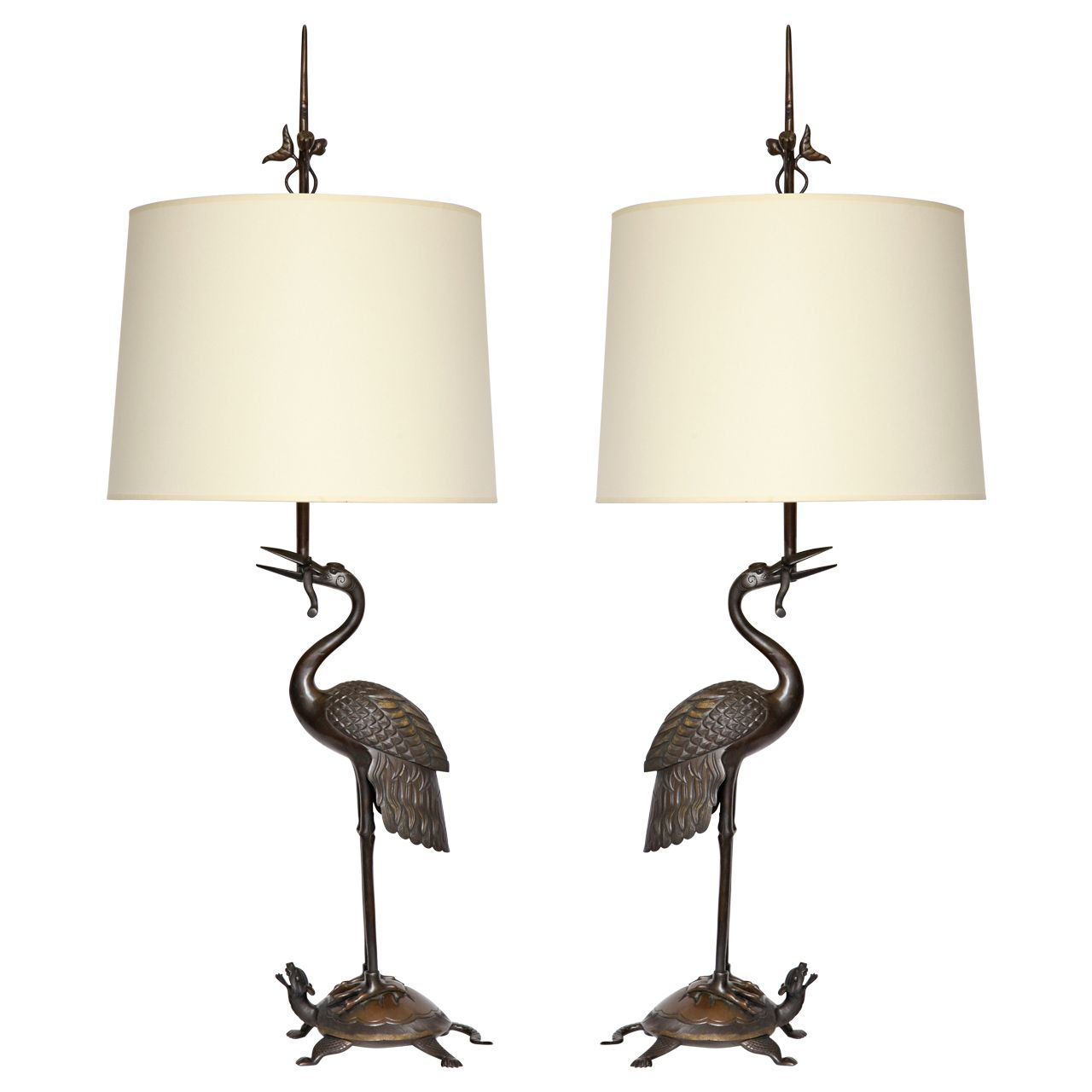 A Pair of 1920's Japanese bronze Table Lamps   From a unique collection of antique and modern table lamps at http://www.1stdibs.com/furniture/lighting/table-lamps/