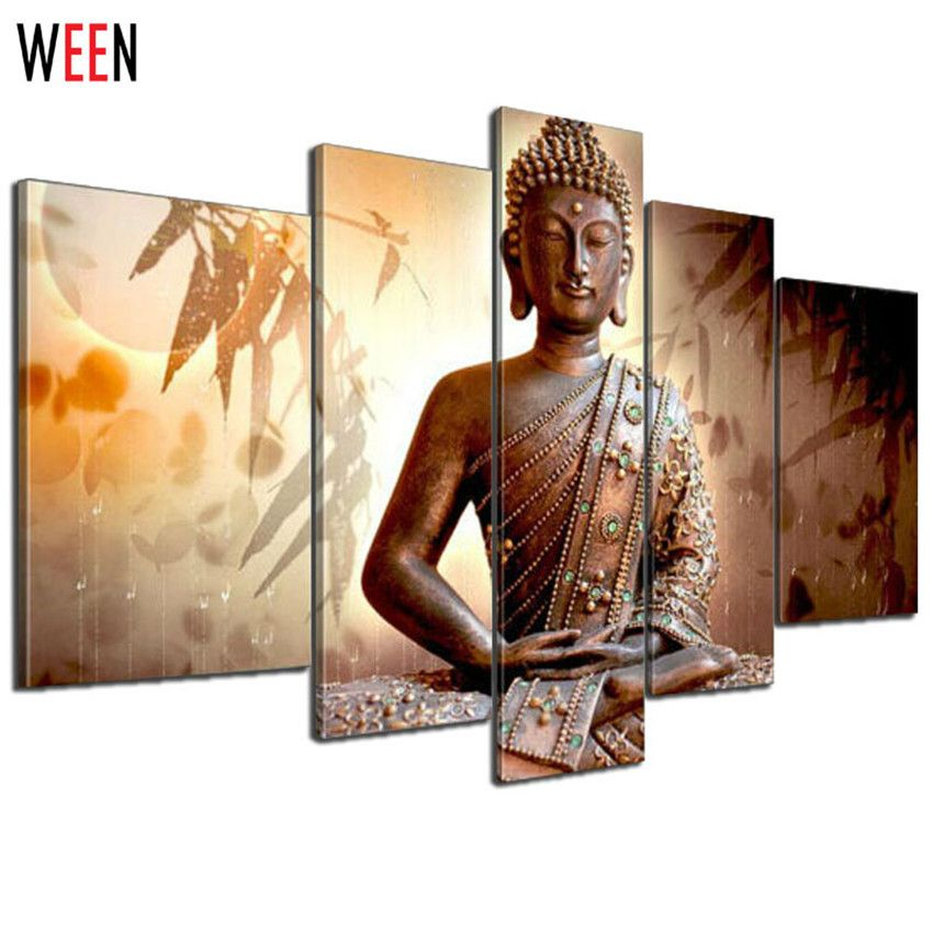 Now available on our store: Religion Buddha H... Check it out here! http://shop.heshegift.com/products/religion-buddha-hand-painted-oil-paintings-on-canvas-contemporary-gift-for-living-room-5-pcs-quadros-de-parede-pintura-a-oleo