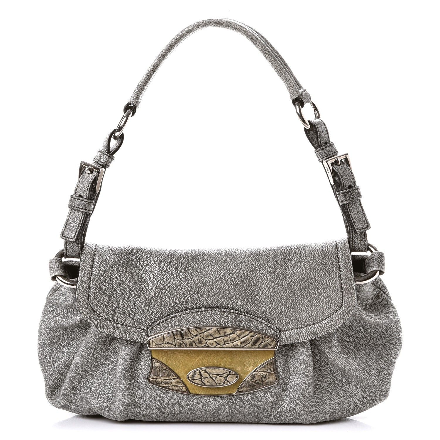 b6f2fdf04a10 ... france new arrivals prada metallic goatskin shoulder flap bag silver  e7b74 74c3f 268ba fb80b