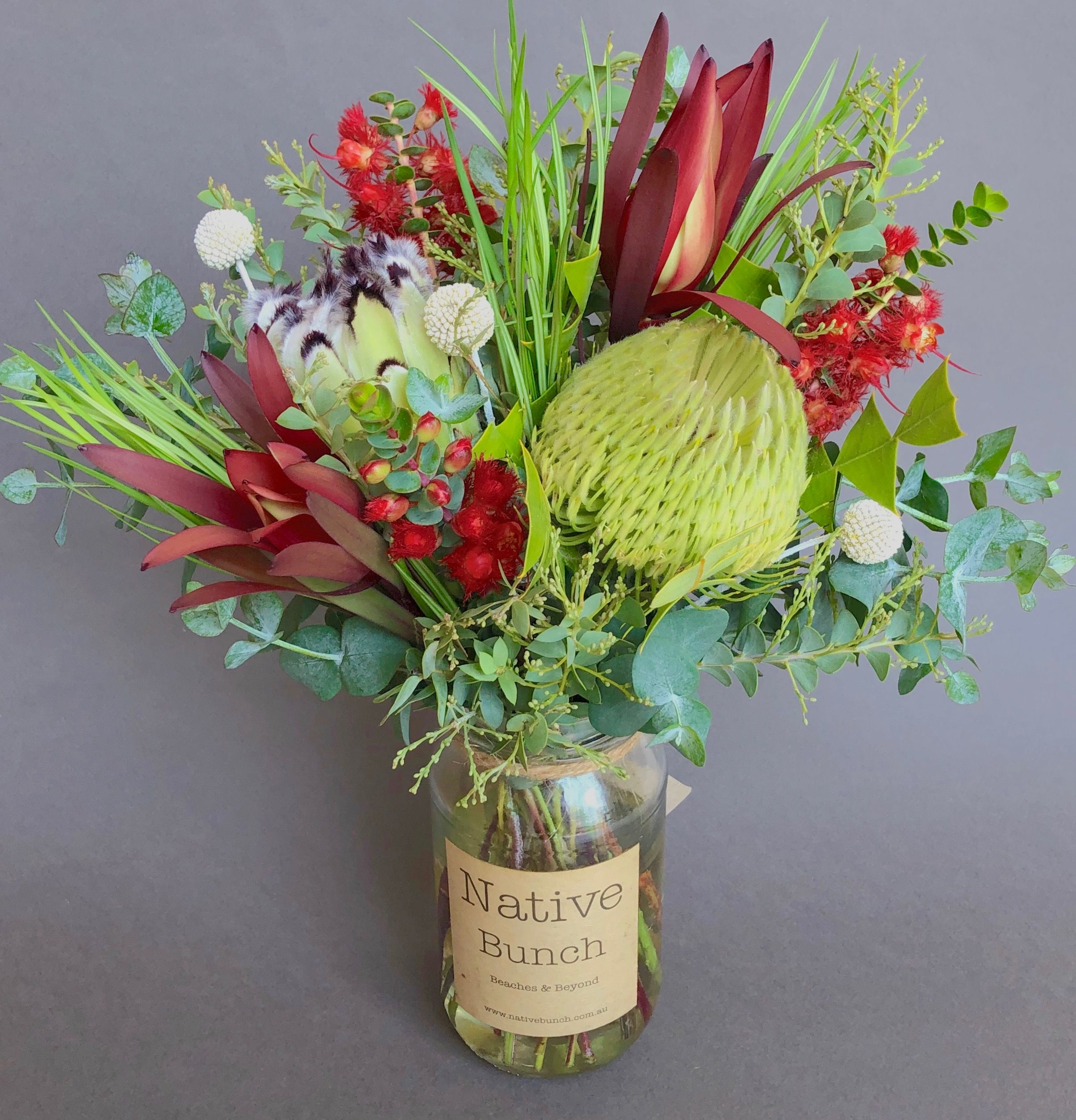 Native Flower Posy By Native Bunch Banksia Protea Verticordia Leucaqdendrons Wattle Emu Grass Flower Delivery Australian Native Flowers Flowers