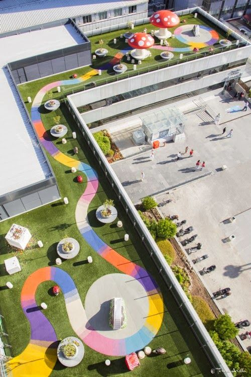 Disused roofs of hospitals, green playgrounds for …