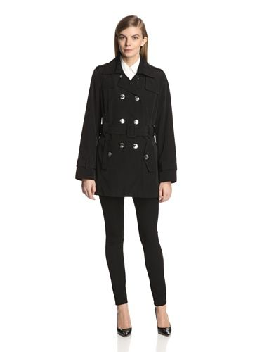 Calvin Klein Women's Double-Breasted Coat (Black)