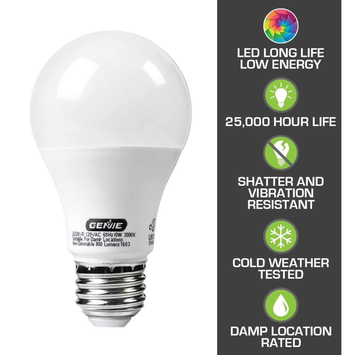 Genie Led Garage Door Opener Light Bulb 60 Watt 800 Lumens Made To Minimize Interference With Garage Door Openers Comp Led Garage Lights Led Light Bulbs Bulb