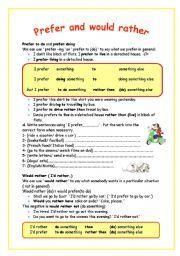 English Worksheet Prefer And Would Rather Egitim Ingilizce