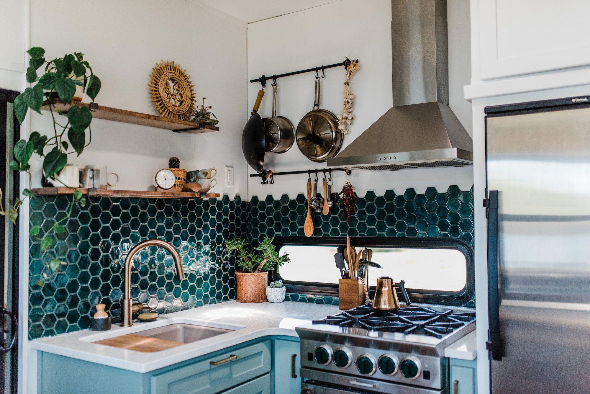 Best Bohemian Tile Deep Teal Bluegrass Hexagons Small Kitchen Backsplash Green Kitchen Kitchen Design