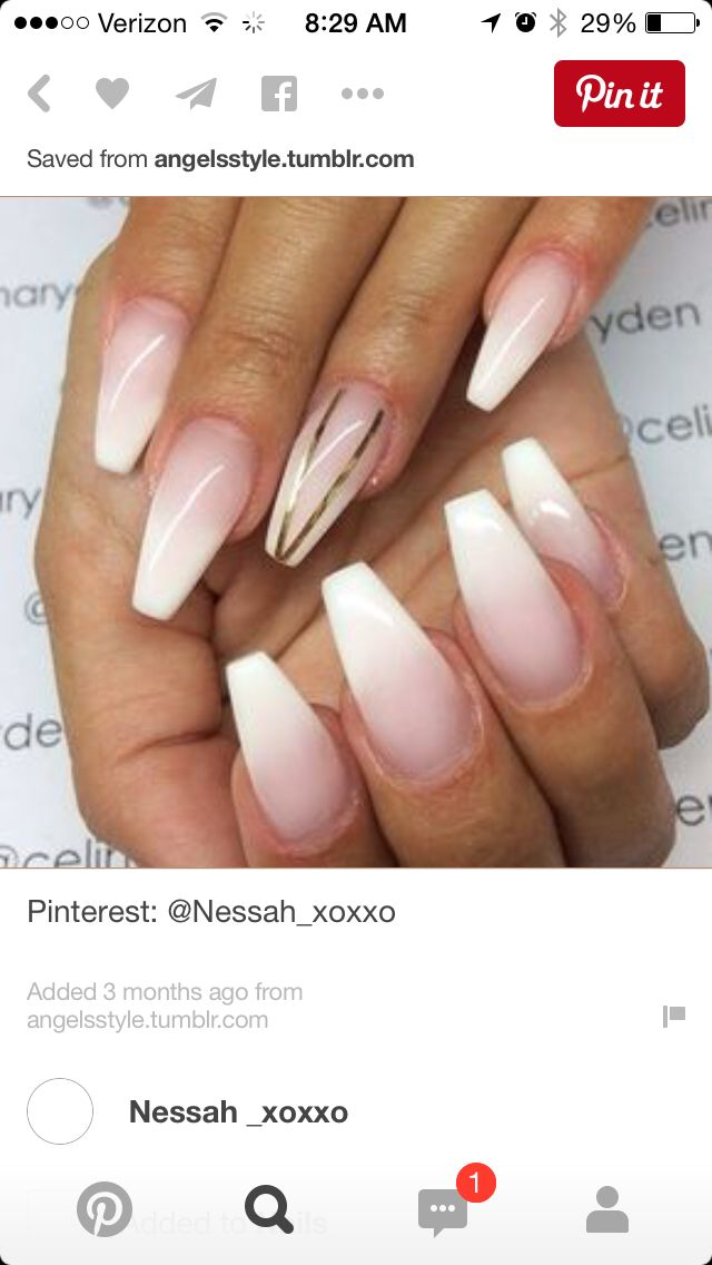 White Ombre Nails Gold Nails Nails Coffin Nails Ombre