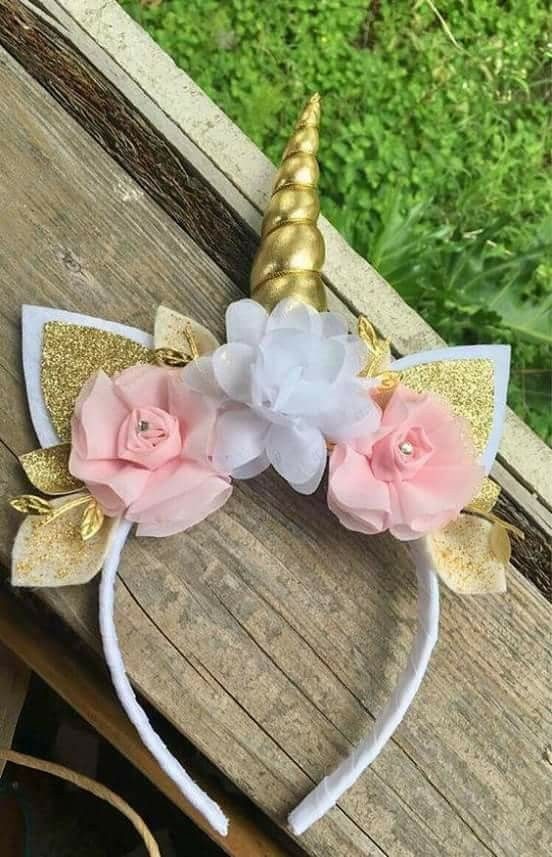 Unicorn Horn Meatallic Gold Shiny Elastic Headband with Floral for Pony Photo Booth Props Cosplay Costume Decor